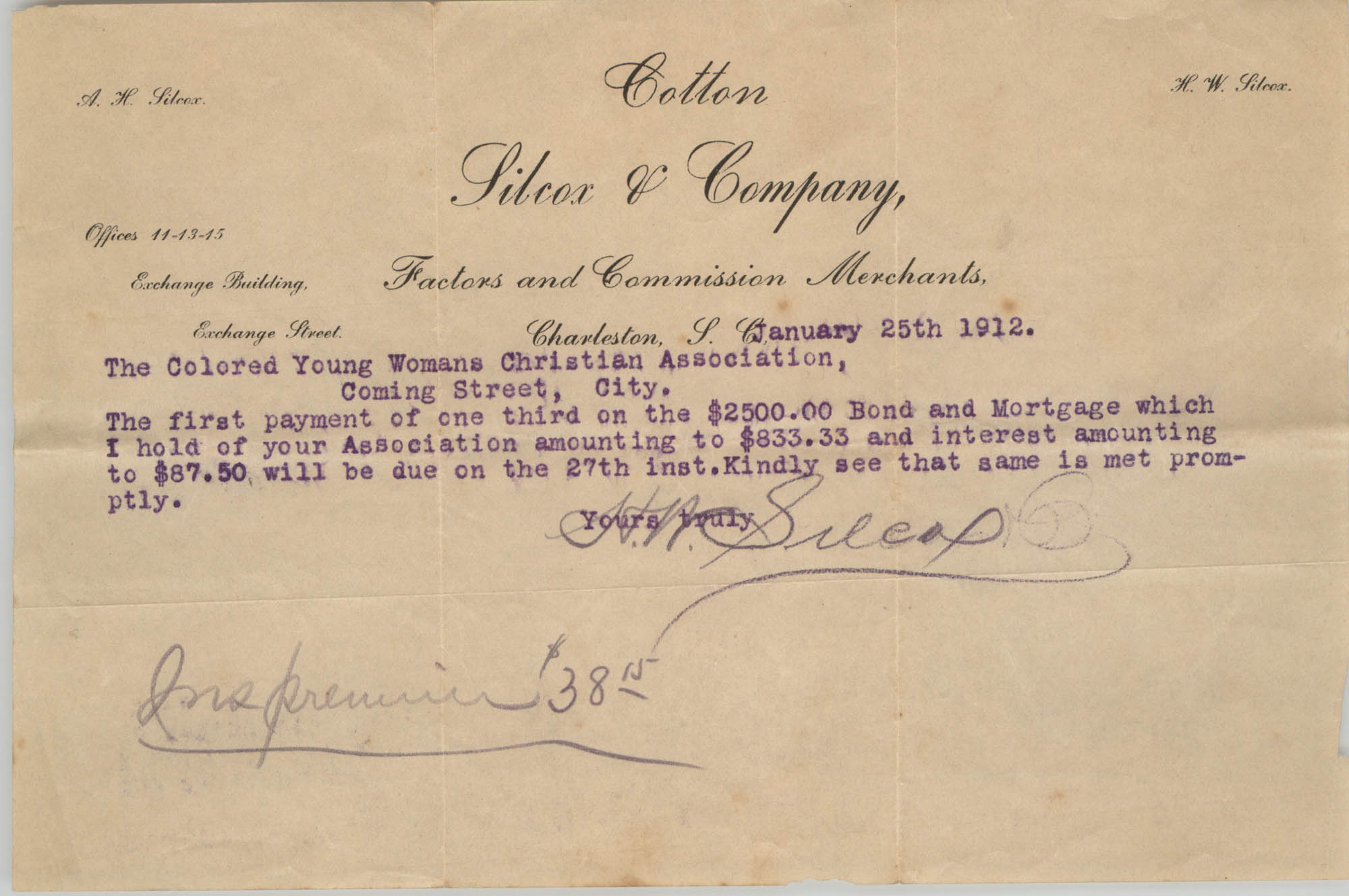 Letter from H. Willard Silcox to the Y.W.C.A., January 25, 1912