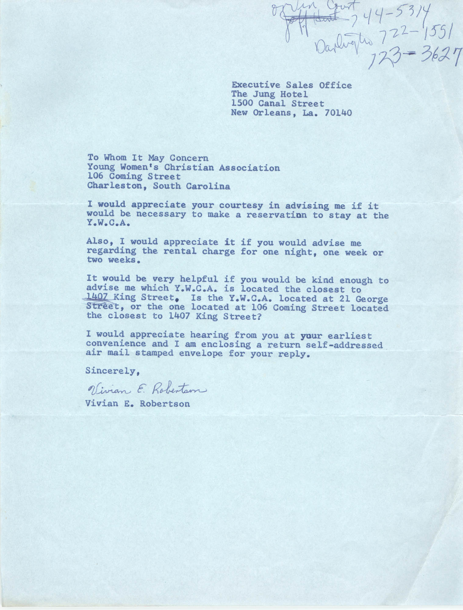 Letter from Vivian E. Robertson