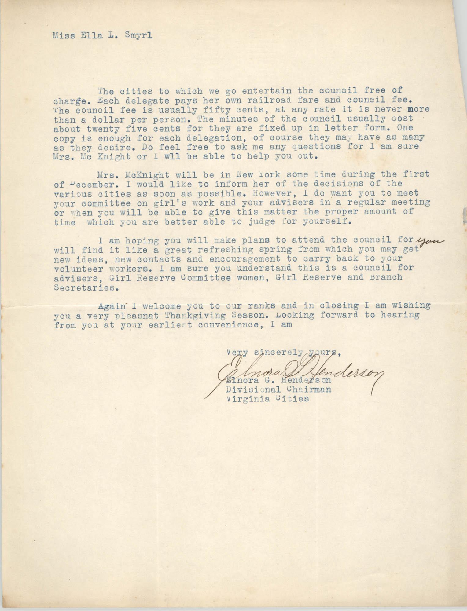 Letter from Elnora G. Henderson to Ella L. Smyrl