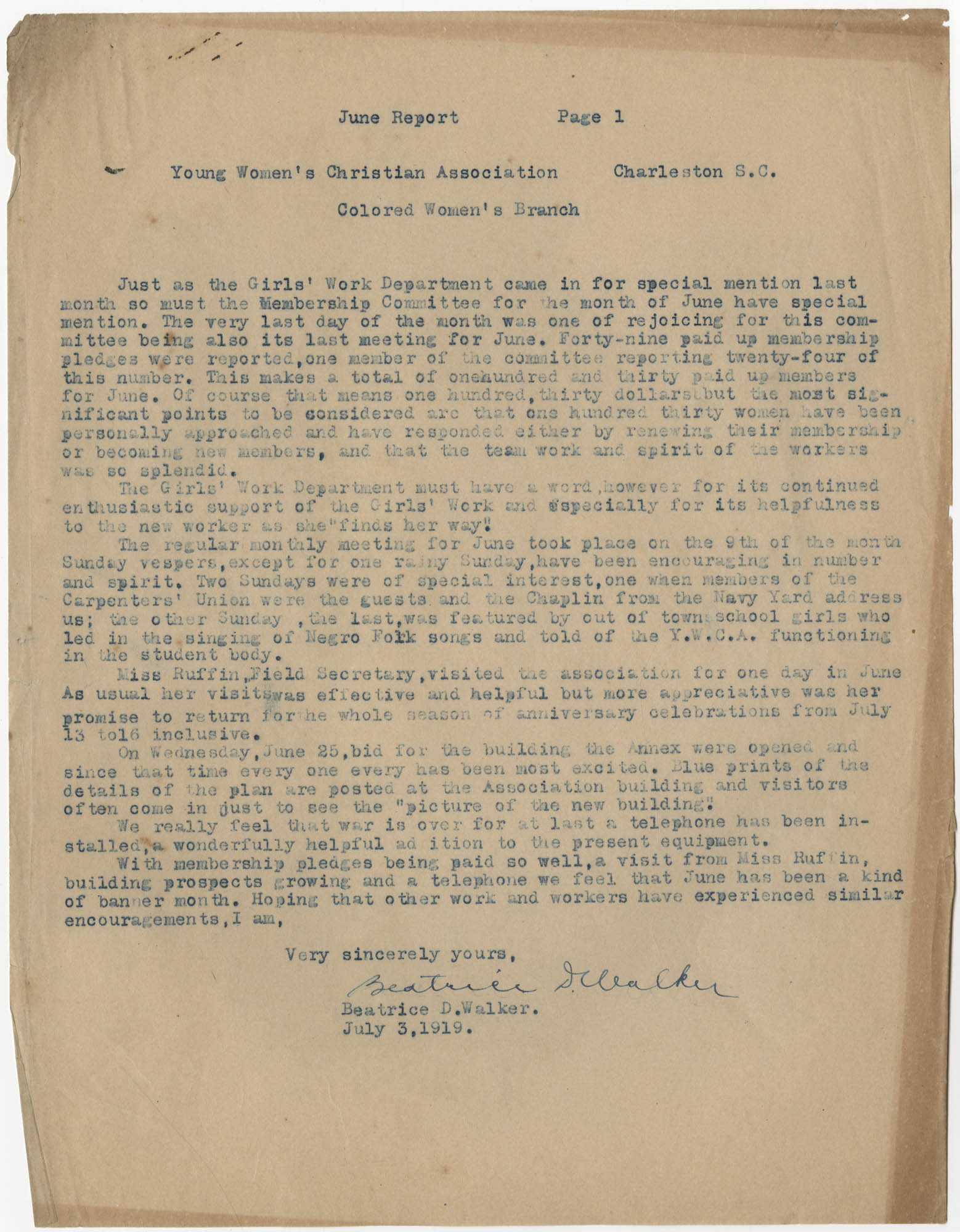 Coming Street Y.W.C.A. Report for June 1919