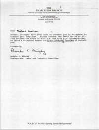 Letter from Brenda C. Murphy to Michael Hamilton