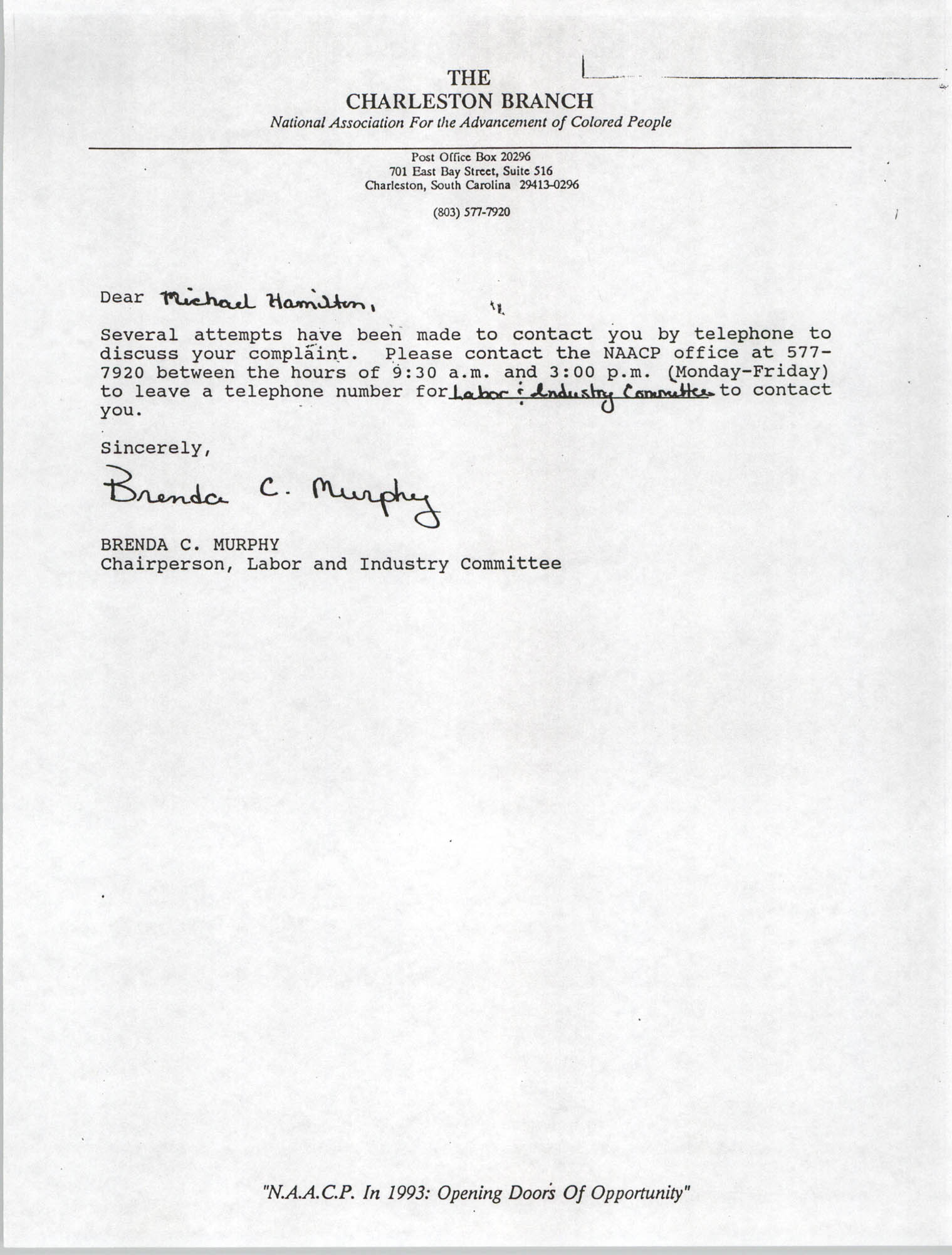 Letter from Brenda C. Murphy to Michael Hamilton