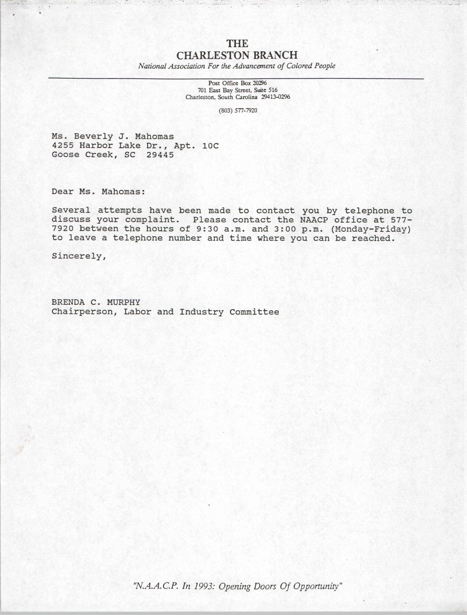 Letter from Brenda C. Murphy to Beverly J. Mahomas