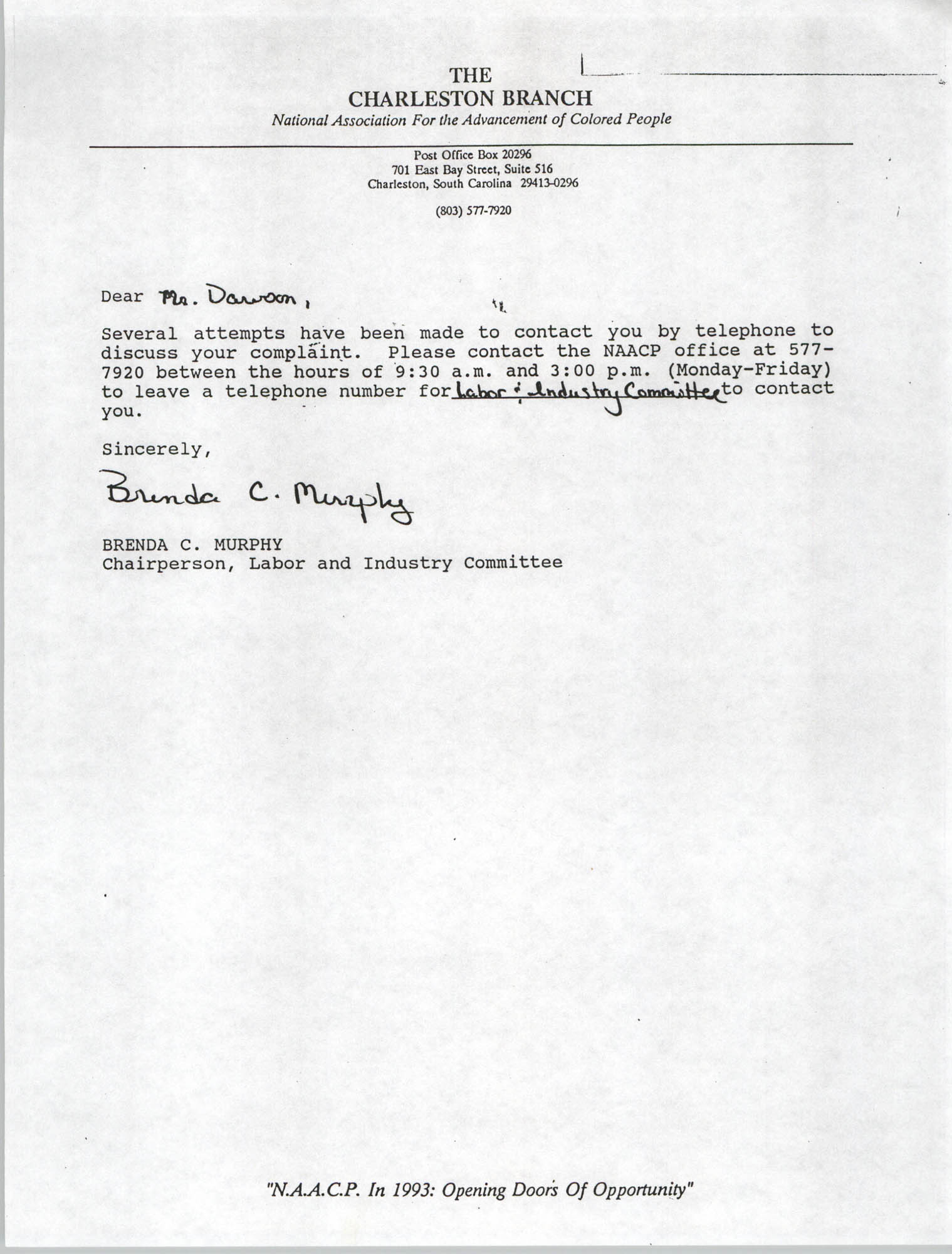 Letter from Brenda C. Murphy to Mr. Dawson