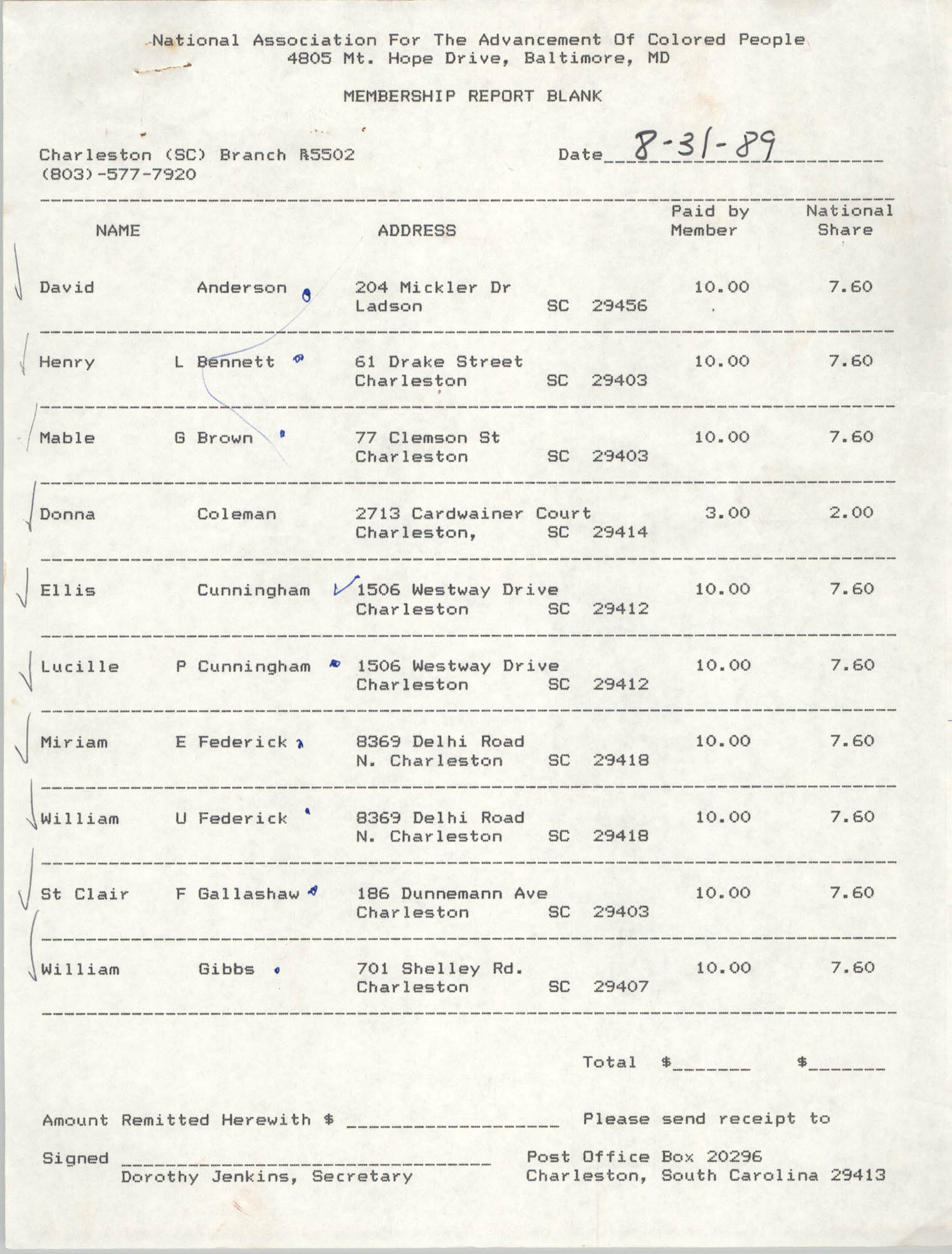 Membership Report Blank, Charleston Branch of the NAACP, Dorothy Jenkins, August 31, 1989