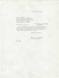 Letter from Christine O. Jackson to Dorothy A. Tillan, August 16, 1966