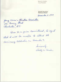 Letter from Betty M. Condon to Y.W.C.A. of Greater Charleston, December 5, 1977
