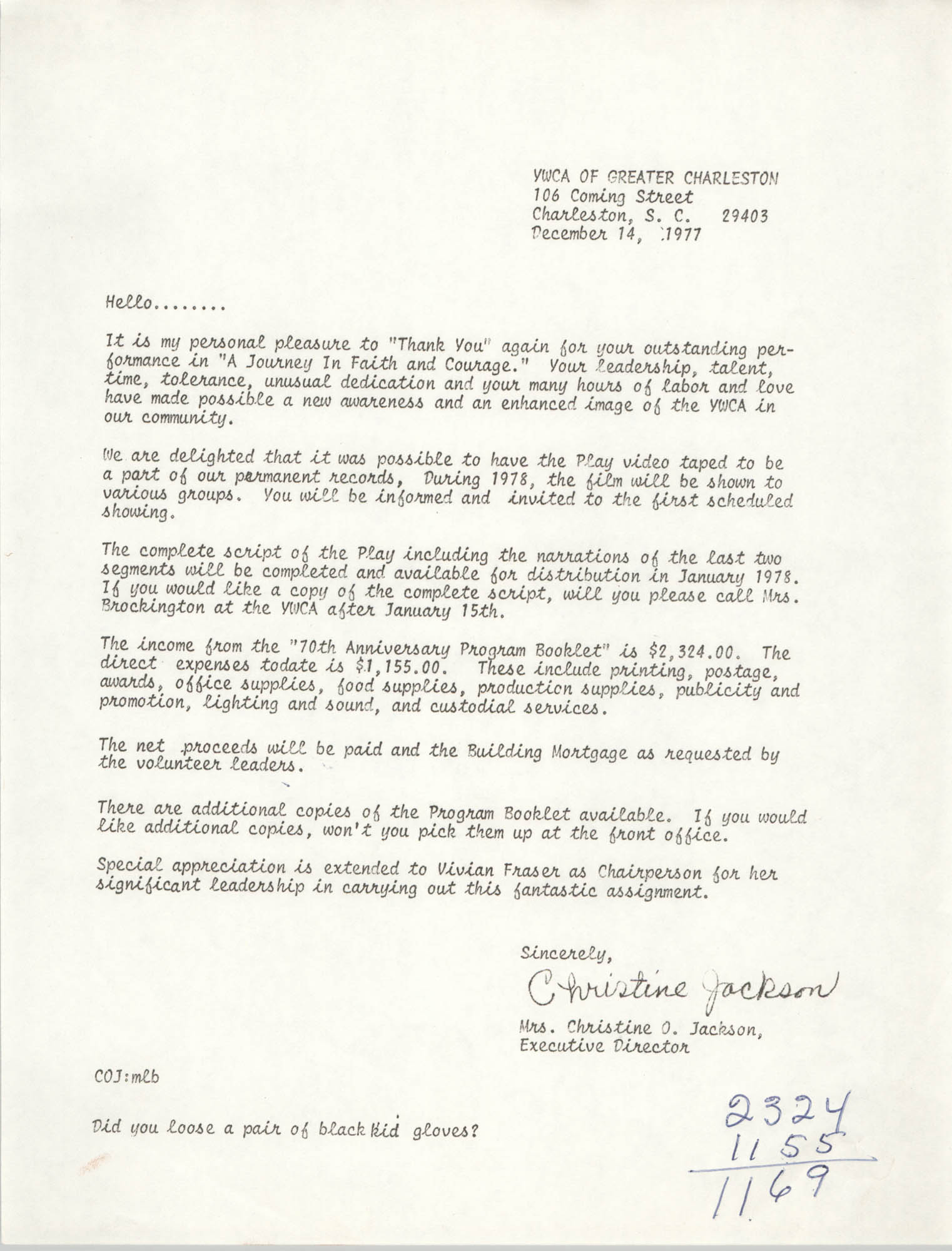 Letter from Christine O. Jackson, December 14, 1977