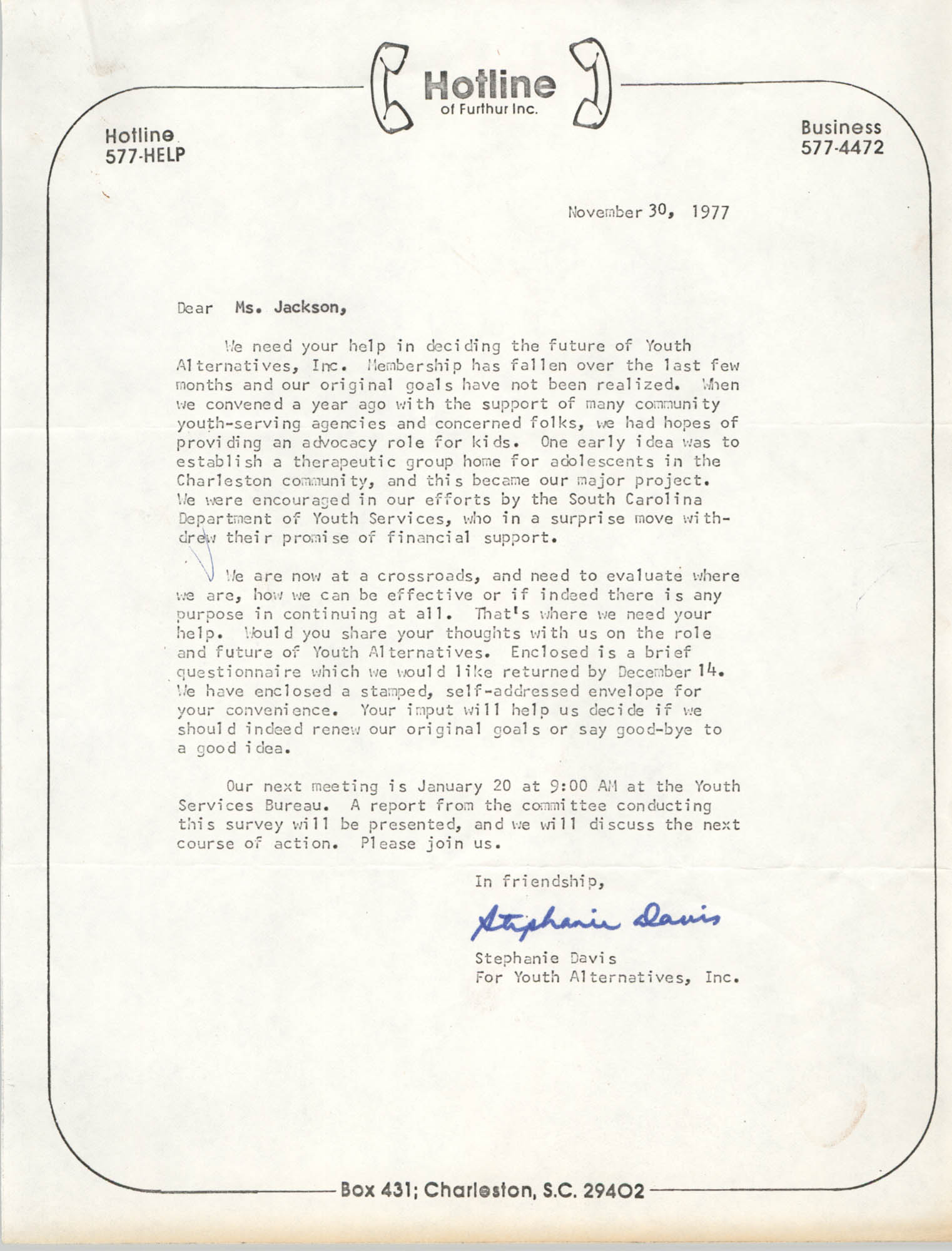 Letter from Stephanie Davis to Christine O. Jackson, November 30, 1977