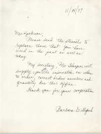 Letter from Barbara Dilligard to Christine O. Jackson, November 14, 1977