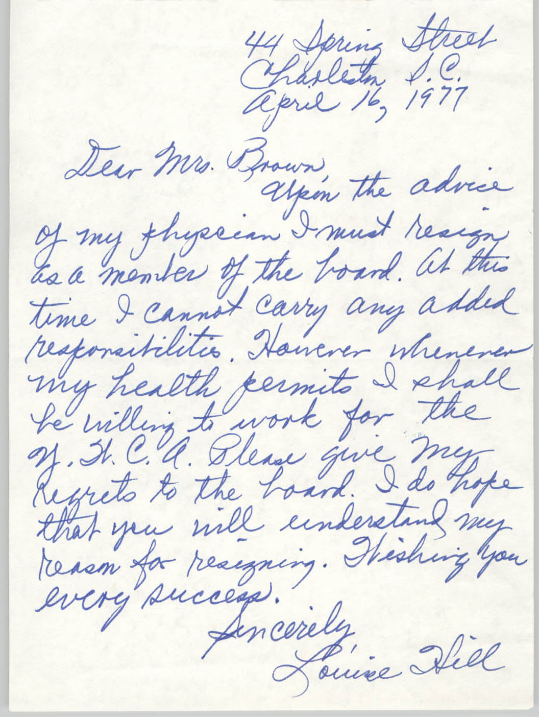 Letter from Louise Hill to