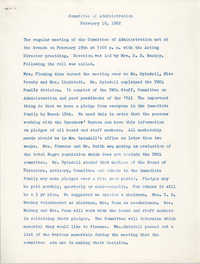 Minutes to the Committee of Administration, Coming Street Y.W.C.A., February 19, 1962