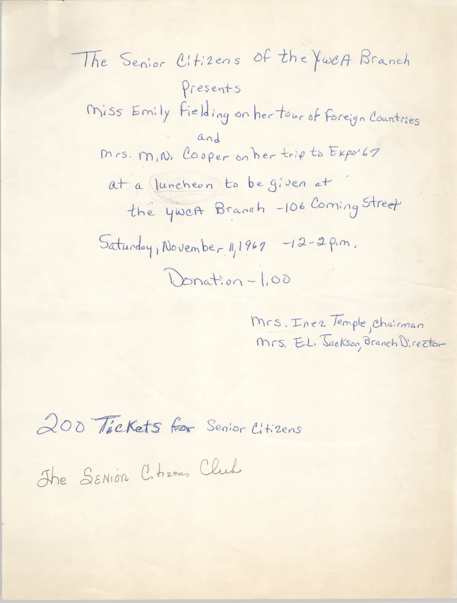 Flyer, Y.W.C.A. Senior Citizen's Club Luncheon, Coming Street Y.W.C.A., November 11, 1967