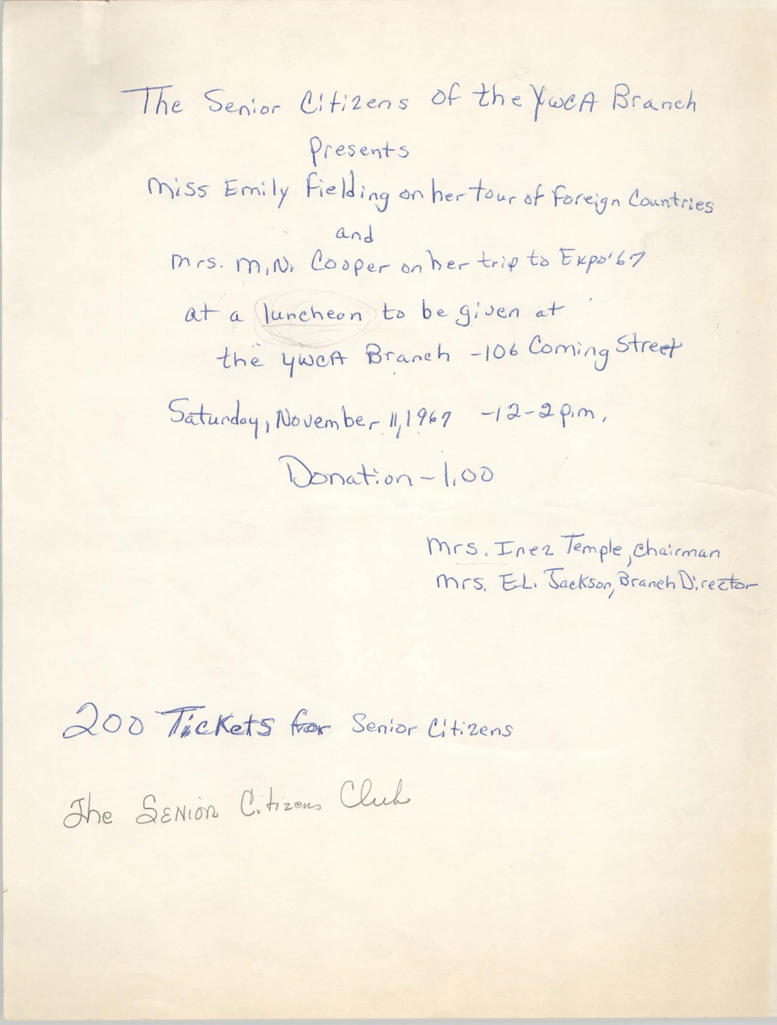 Flyer, Y.W.C.A. Senior Citizen's Club Luncheon, Coming Street Y.W.C.A., November 11, 1967