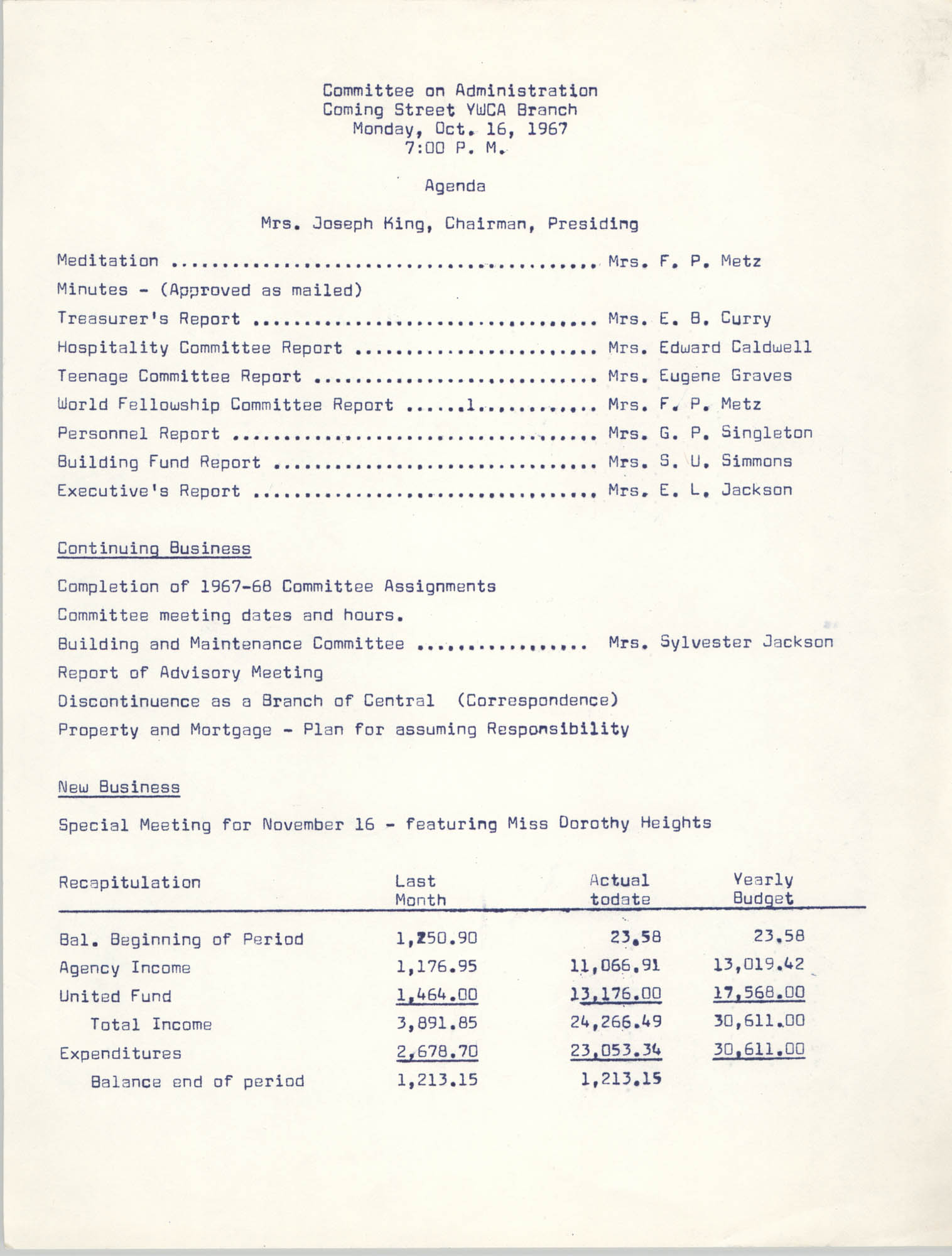 Agenda, Coming Street Y.W.C.A. Committee on Administration Meeting, October 16, 1967