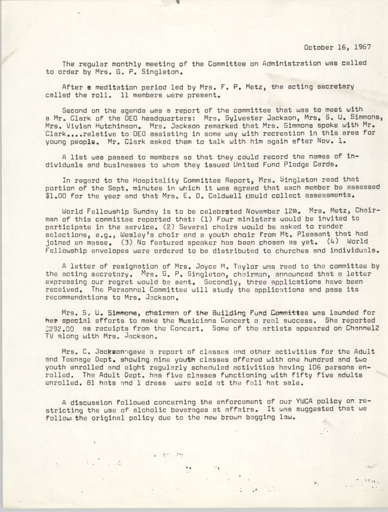 Minutes to the Committee on Administration, Coming Street Y.W.C.A., October 16, 1967