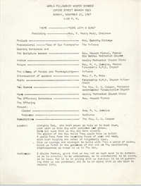 World Fellowship Vesper Service, Coming Street Y.W.C.A., November 12, 1967
