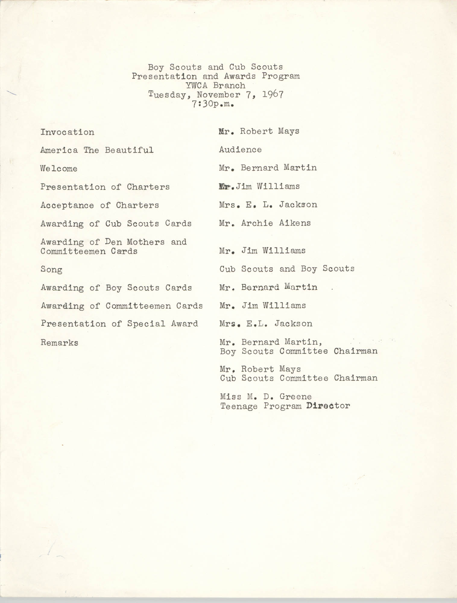 Boy Scouts and Cub Scouts Presentation and Awards Program, Coming Street Y.W.C.A., November 7, 1967