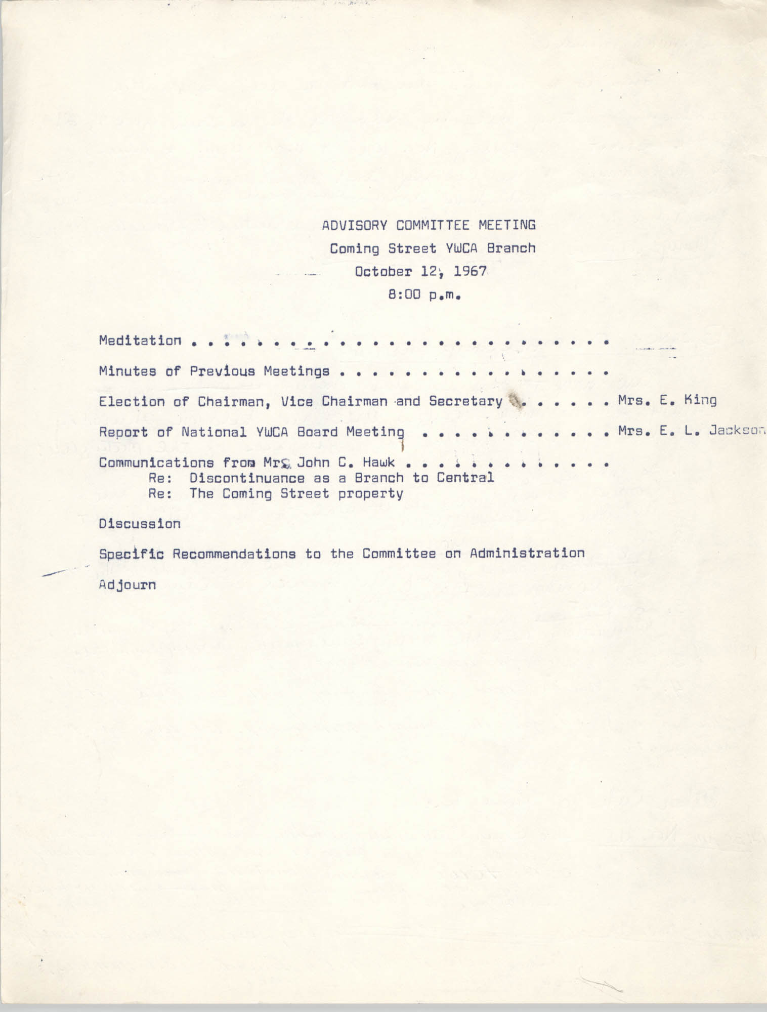 Agenda, Coming Street Y.W.C.A. Advisory Committee Meeting, October 12, 1967