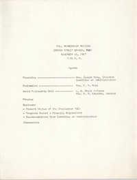 Agenda, Fall Membership Meeting, Coming Street Y.W.C.A., November 16, 1967