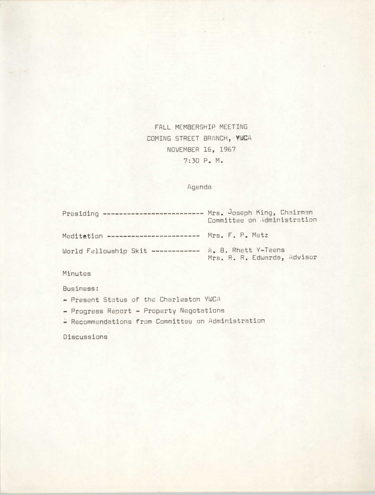 Agenda, Fall Membership Meeting, Coming Street Y.W.C.A., November 16, 1967