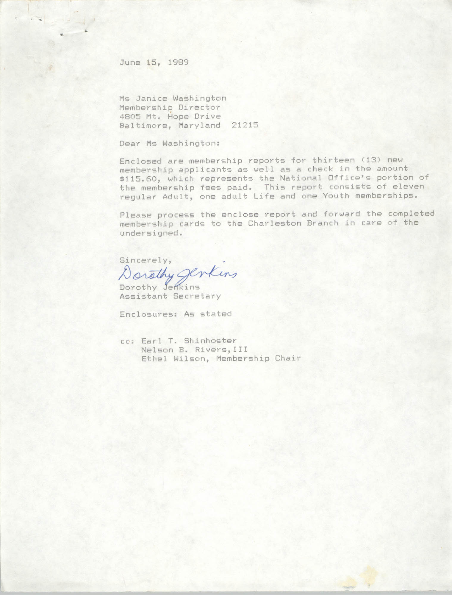 Letter from Dorothy Jenkins to Janice Washington, NAACP, June 15, 1989