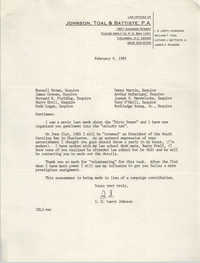 Letter from I.S. Leevy Johnson to fellow attorneys, February 9, 1985