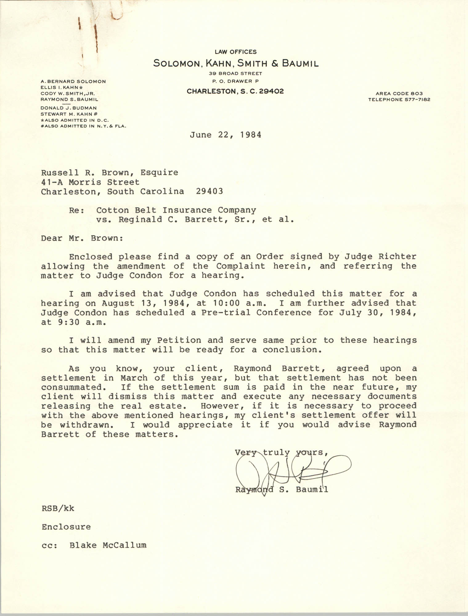 Letter from Raymond S. Baumil to Russell Brown, July 22, 1984