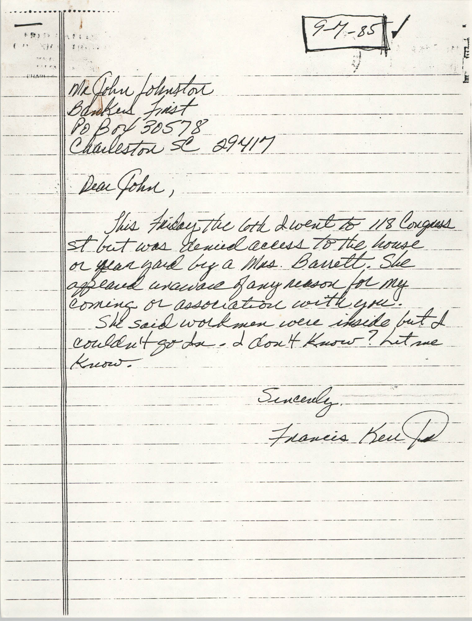 Handwritten letter from Francis Kell D. to John Johnston, September 7, 1985