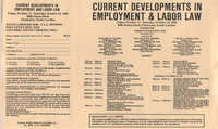 Current Developments in Employment and Labor Law, Continuing Legal Education Seminar Pamphlet, October 12, 1985