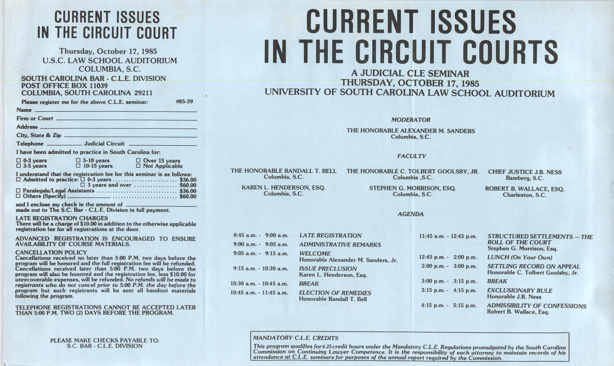 Current Issues in the Circuit Courts, Continuing Judicial Education Seminar Pamphlet, October 17, 1985