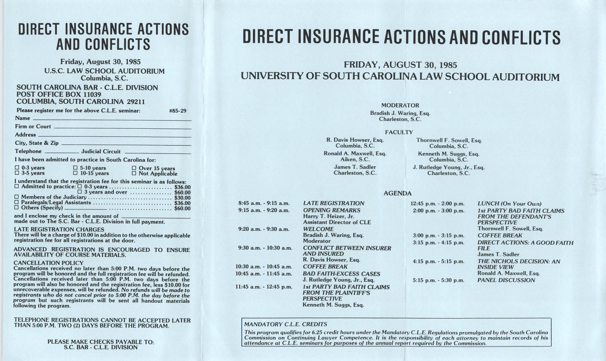 Direct Insurance Actions and Conflicts, Continuing Legal Education Seminar Pamphlet, August 30, 1985