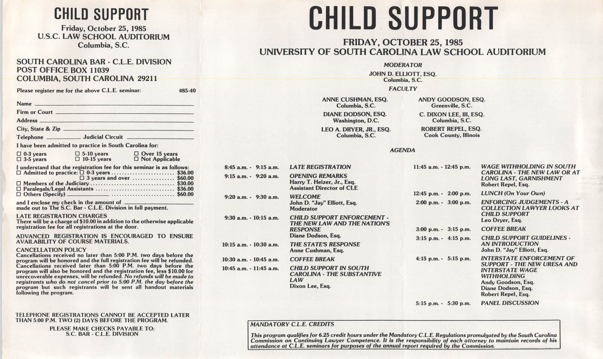 Child Support, Continuing Legal Education Seminar, October 25, 1985