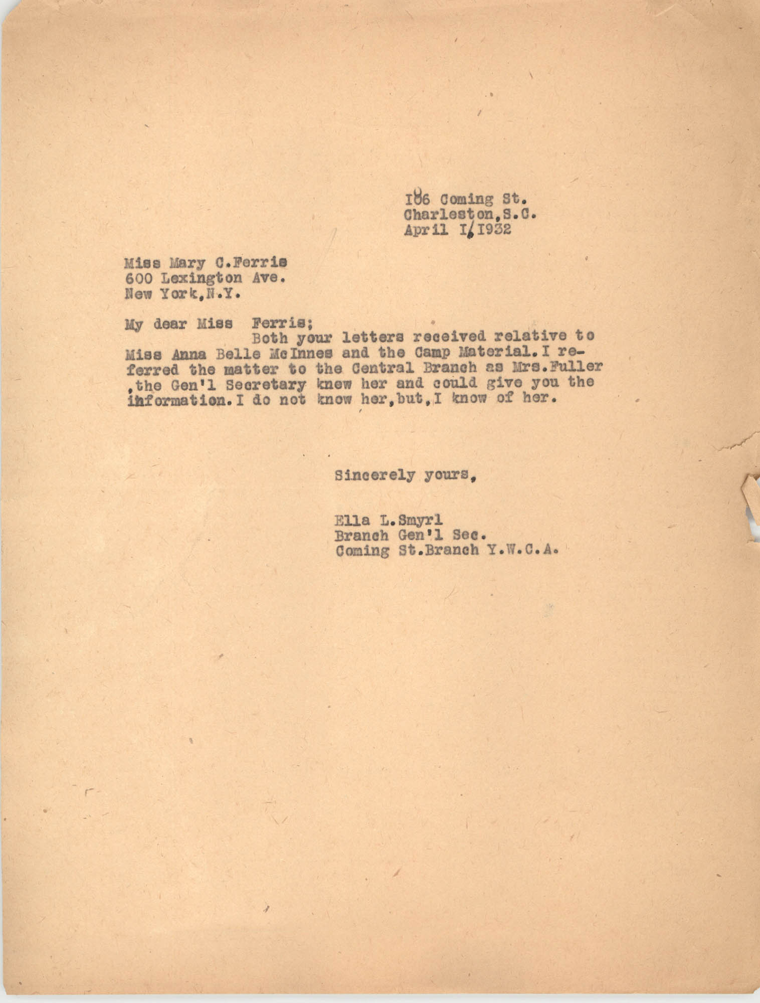 Letter from Ella L. Smyrl to Mary C. Ferris, April 1, 1932