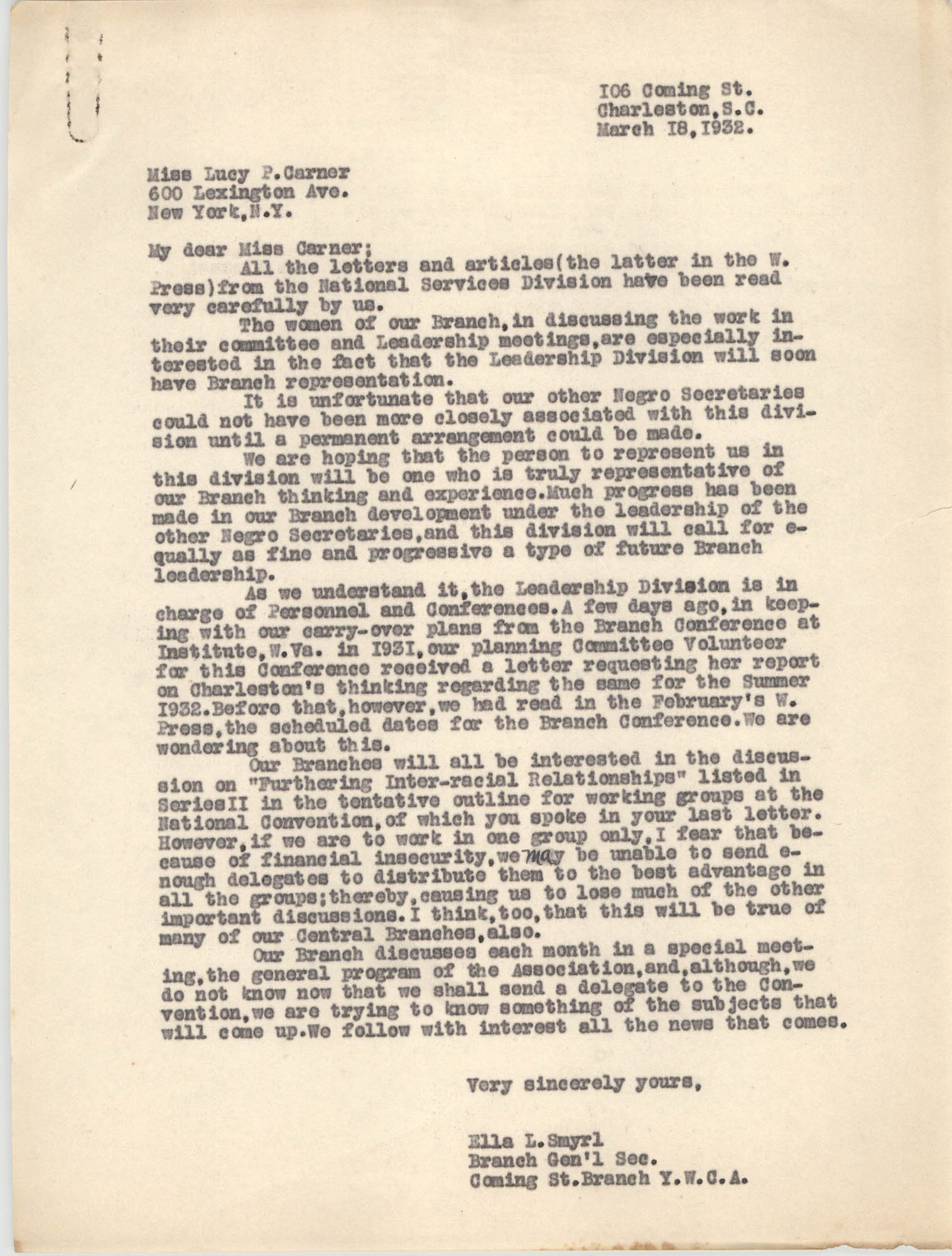 Letter from Ella L. Smyrl to Lucy P. Carner, March 18, 1932