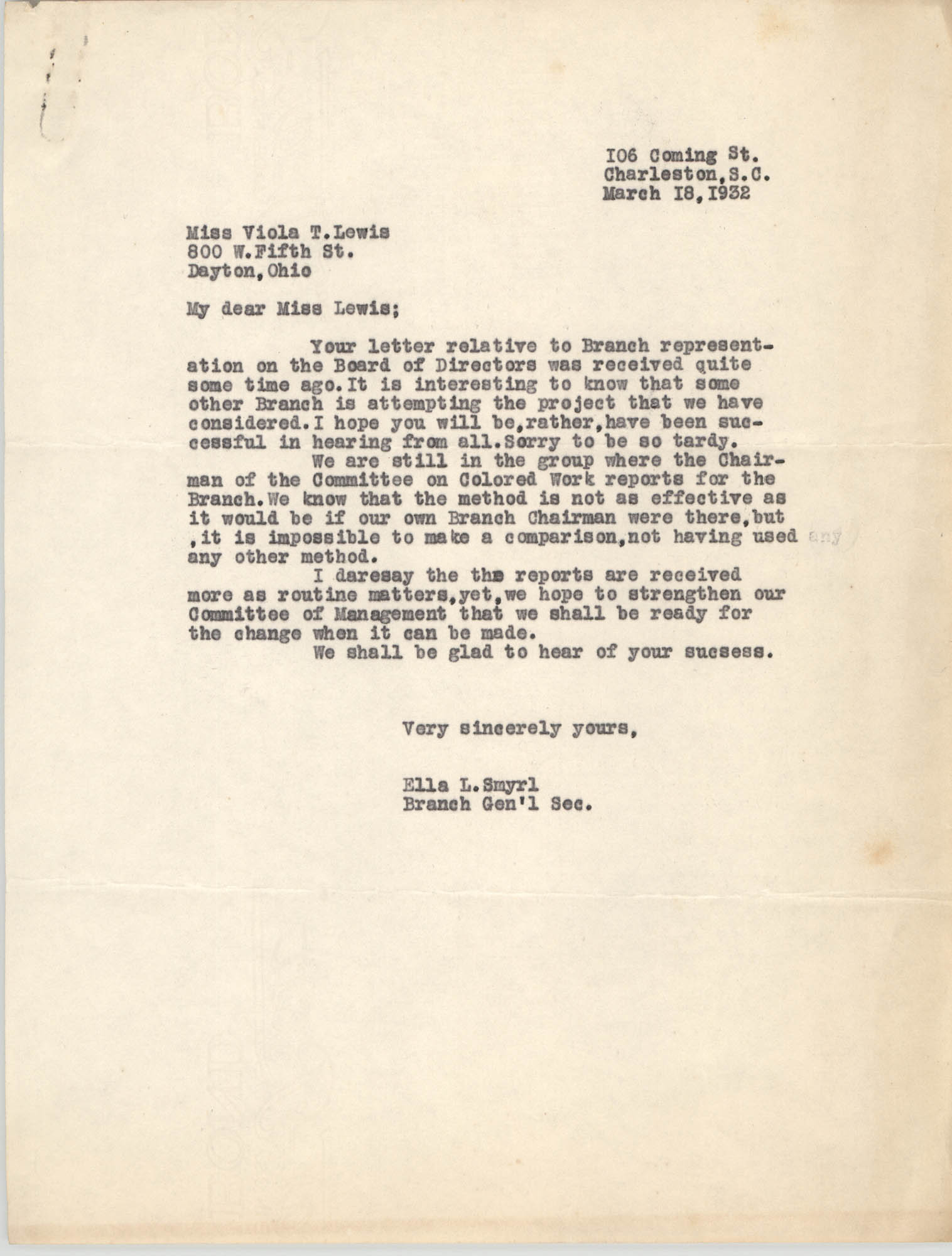 Letter from Ella L. Smyrl to Viola T. Lewis, March 18, 1932