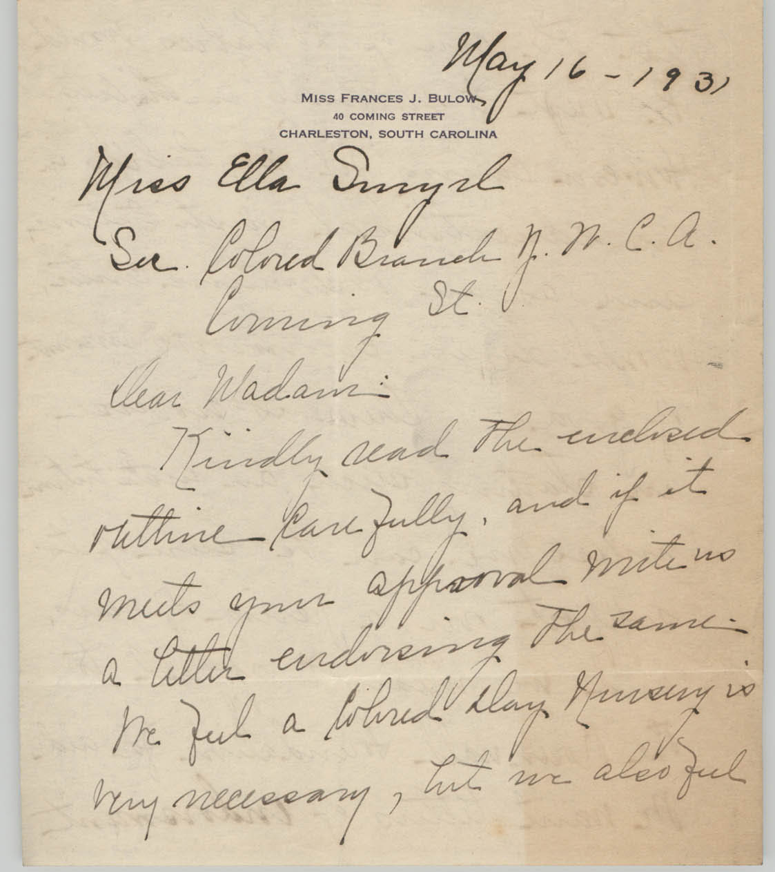 Letter from Frances J. Bulow to Ella L. Smyrl, May 16, 1931