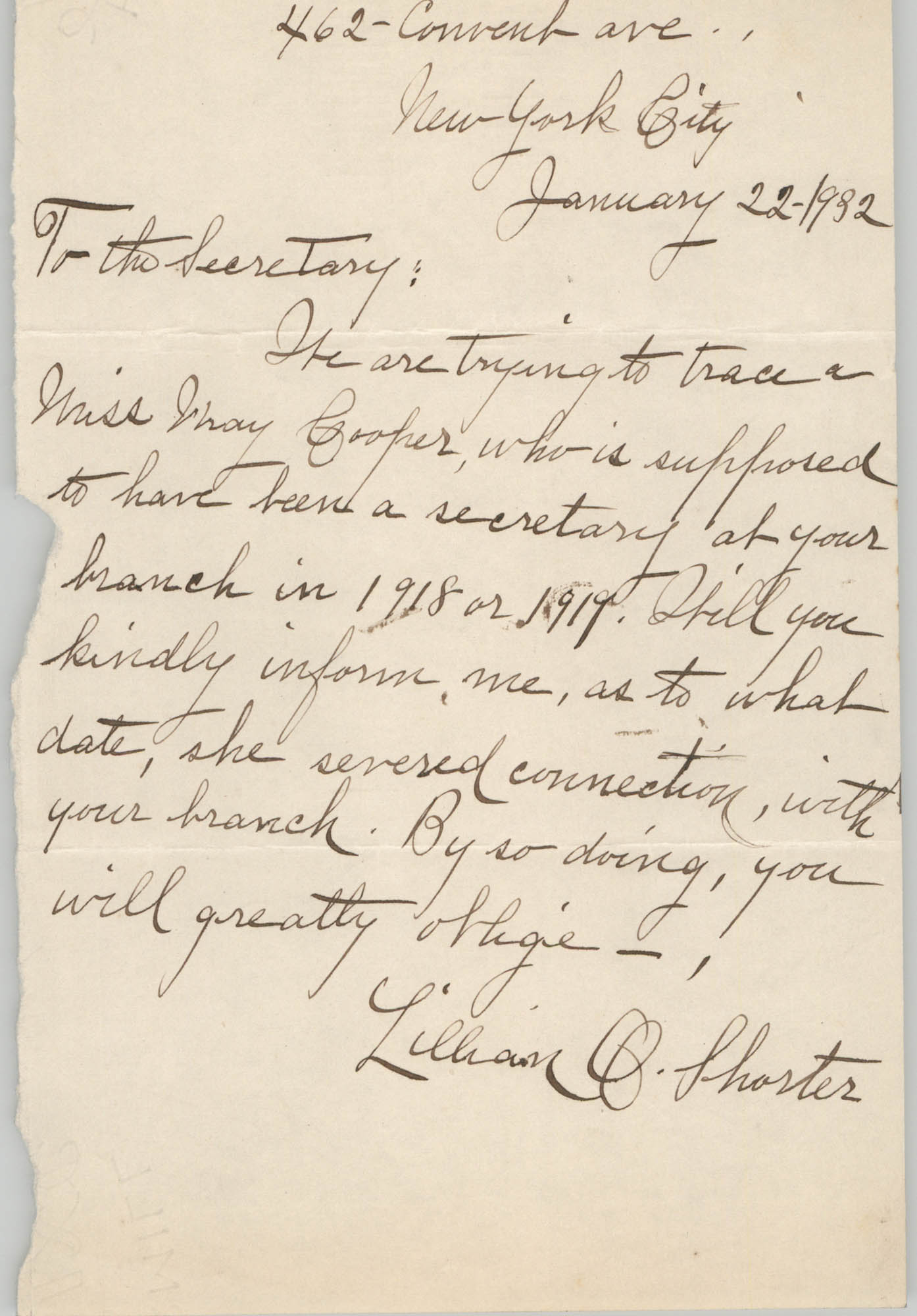 Letter from Lillian O. Shorter, January 22, 1932