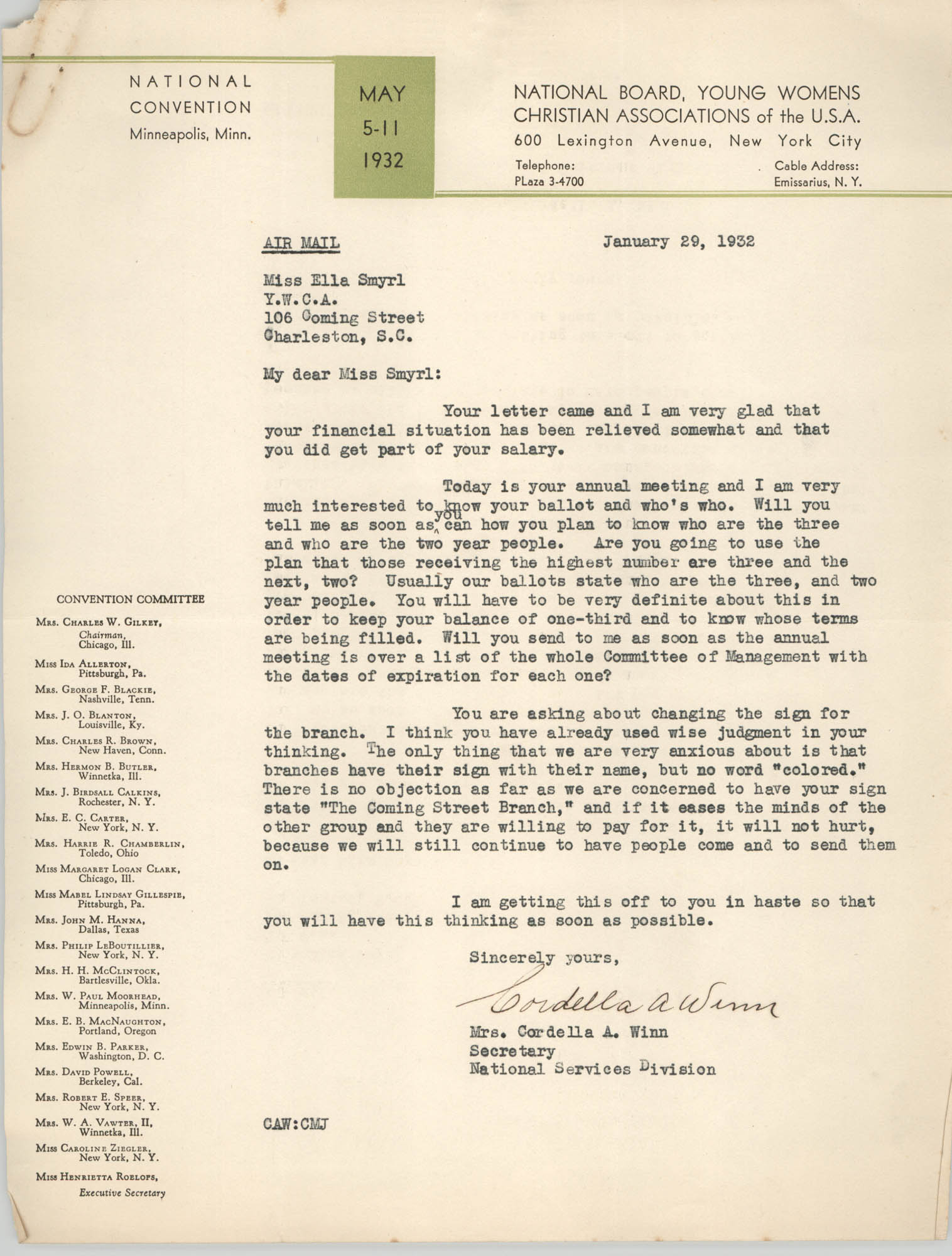 Letter from Cordella A. Winn to Ella L. Smyrl, January 29, 1932