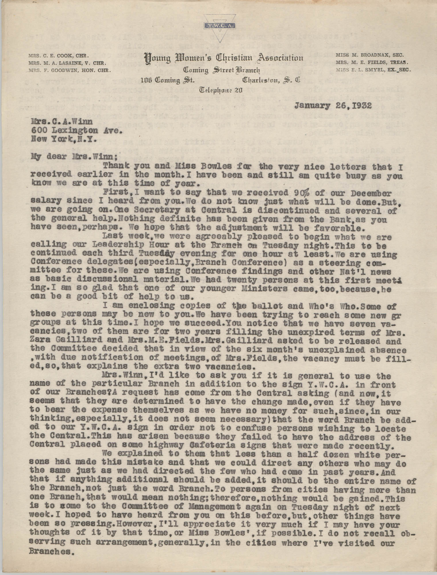 Letter from Ella L. Smyrl to Cordella A. Winn, January 26, 1932
