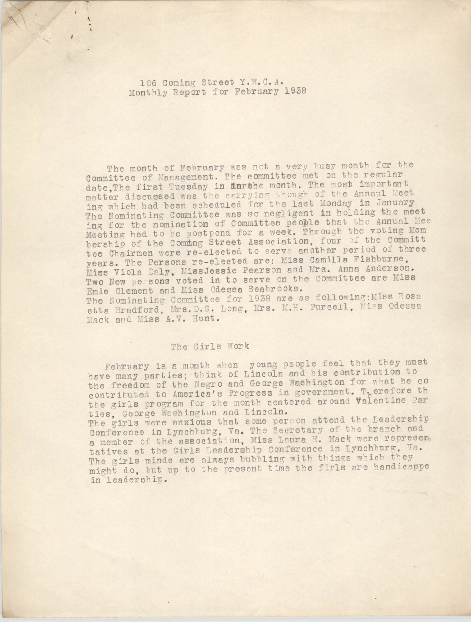 Monthly Report for the Coming Street Y.W.C.A., February 1938