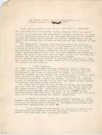 Monthly Report for the Coming Street Y.W.C.A., March 1938