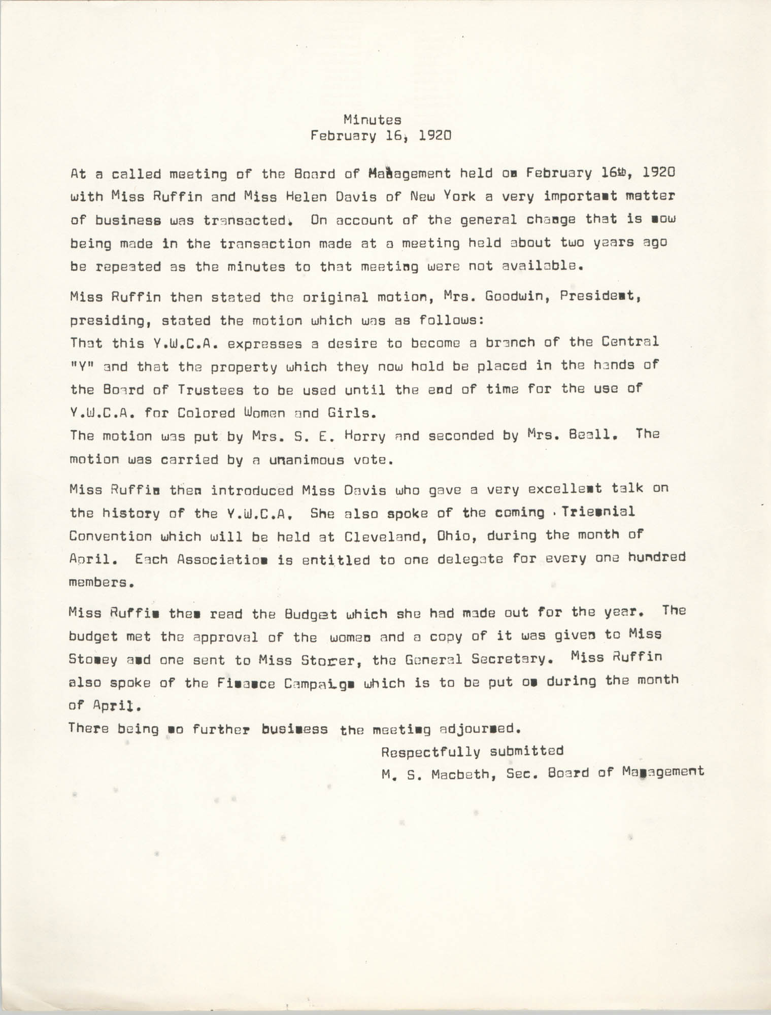 Minutes to the Board of Management Meeting, Coming Street Y.W.C.A., February 16, 1920