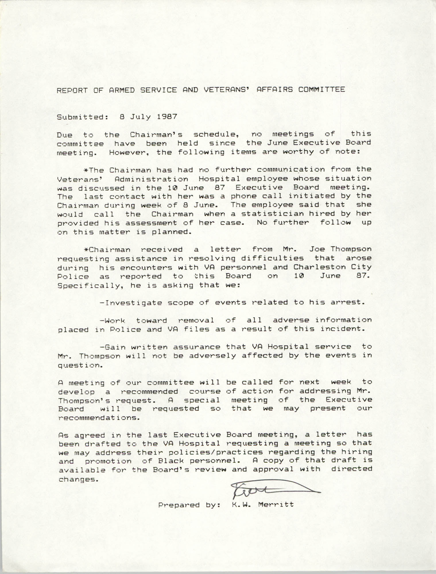 Report of Armed Service and Veterans' Affairs Committee, K.W. Merritt, July 8, 1987
