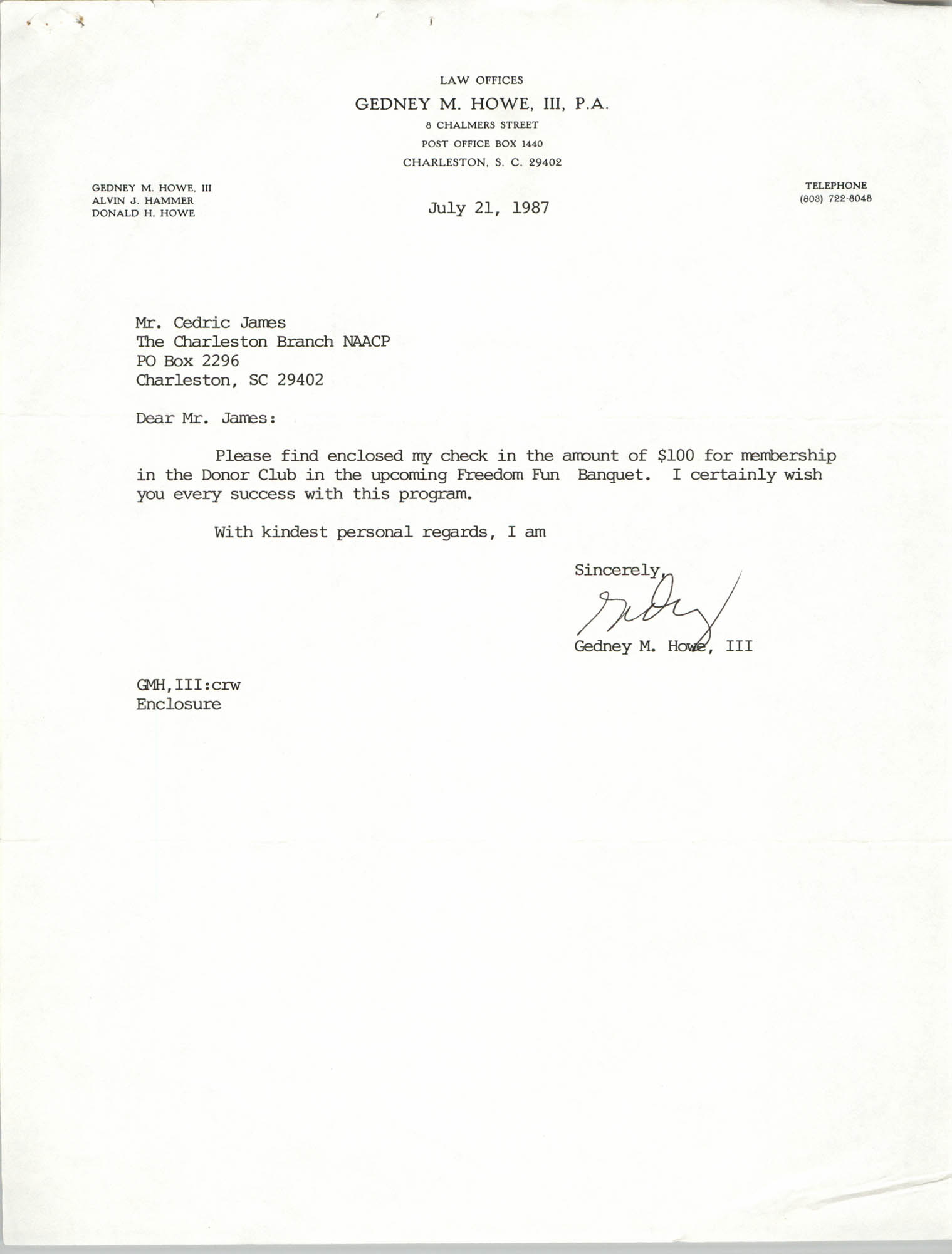 Letter from Gedney M. Howe, III to Cedric James, July 21, 1987