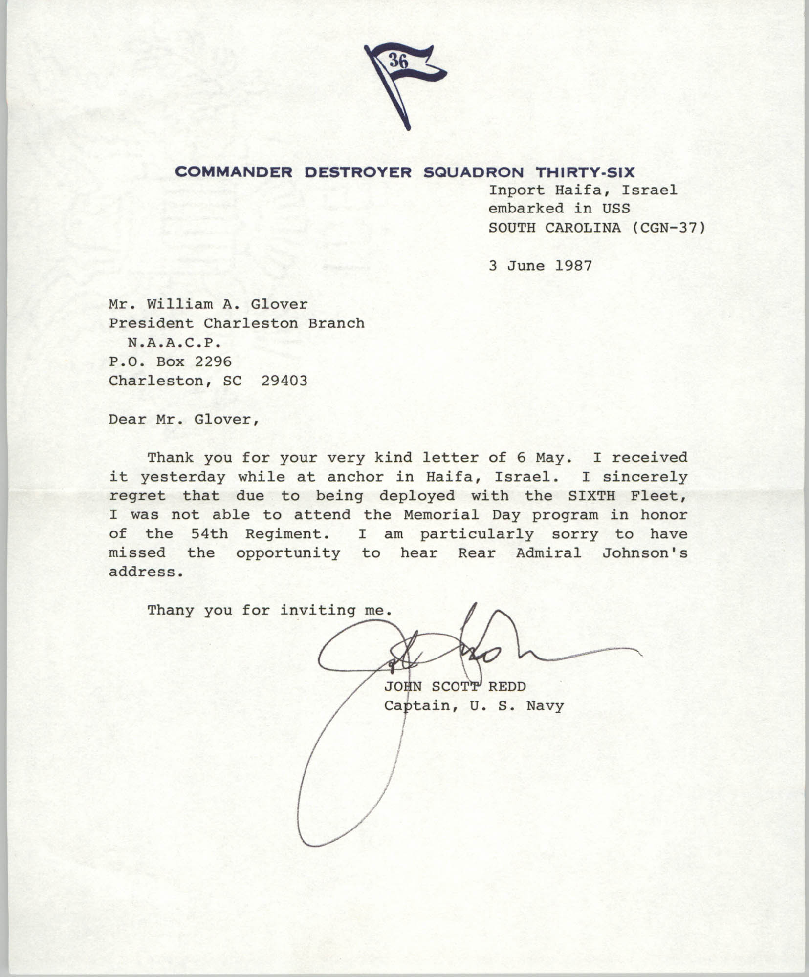 Letter from John Scott Redd to William A. Glover, June 3, 1987
