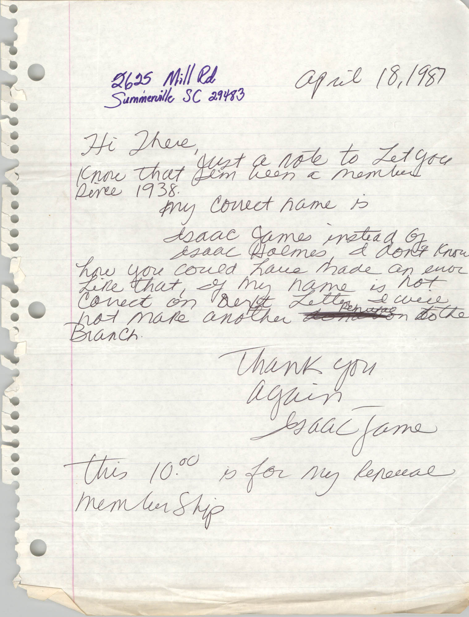Membership Renewal Letter, Isaac James, April 18, 1987