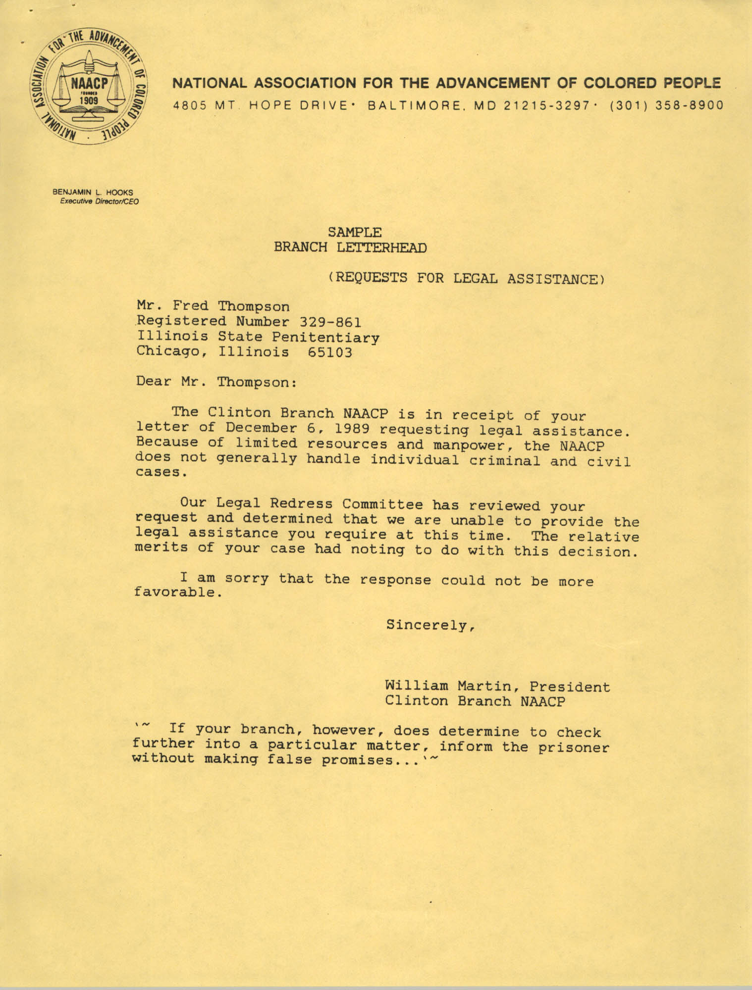 Sample, Letter from William Martin to Fred Thompson
