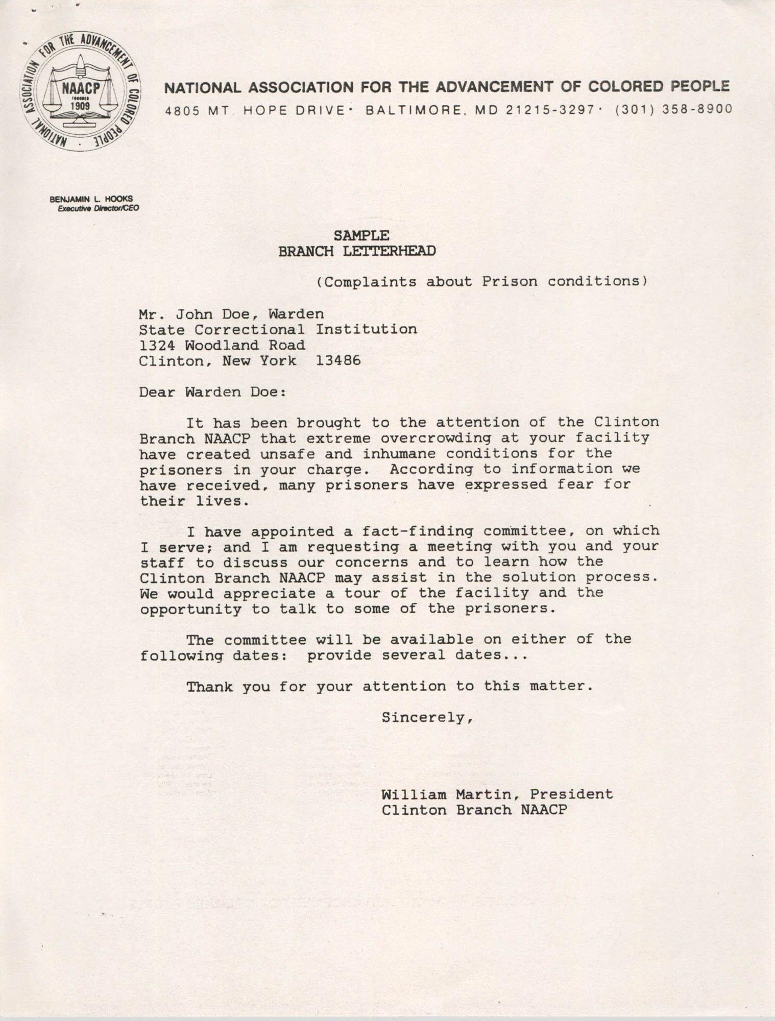 Sample, Letter from William Martin to John Doe