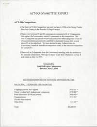ACT-SO Committee Report, NAACP, Paul McKnight, June 7, 1994